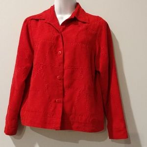 Christopher & Banks red button down shirt small